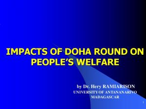 IMPACTS OF DOHA ROUND ON PEOPLE S WELFARE