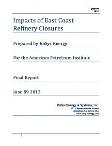 Impacts of East Coast Refinery Closures