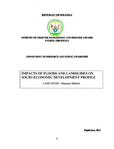 IMPACTS OF FLOODS AND LANDSLIDES ON SOCIO-ECONOMIC DEVELOPMENT PROFILE