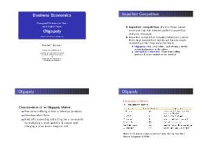 Imperfect Competition. Business Economics. Oligopoly. Oligopoly. Oligopoly
