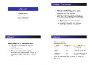 Imperfect Competition. Oligopoly. Oligopoly. Oligopoly