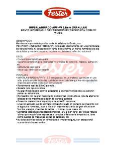IMPERLAMINADO APP-FV 3.5mm GRANULAR MANTO IMPERMEABLE PREFABRICADO REFORZADO CON FIBRA DE VIDRIO