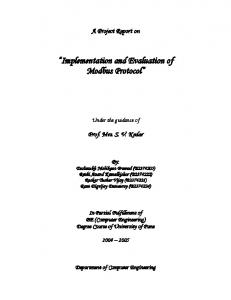 Implementation and Evaluation of Modbus Protocol