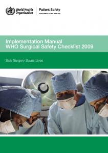Implementation Manual WHO Surgical Safety Checklist Safe Surgery Saves Lives