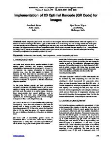 Implementation of 2D Optimal Barcode (QR Code) for Images