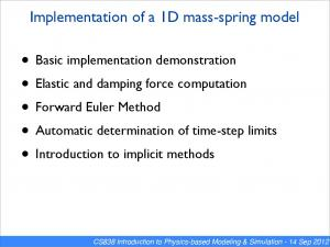 Implementation of a 1D mass-spring model