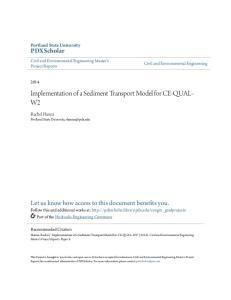 Implementation of a Sediment Transport Model for CE-QUAL- W2