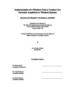 Implementation of a Windows Tool to Conduct Live Forensics Acquisition in Windows Systems