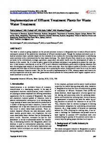 Implementation of Effluent Treatment Plants for Waste Water Treatment