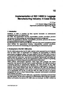 Implementation of ISO in Luggage Manufacturing Industry: A Case Study