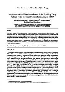 Implementation of Maximum Power Point Tracking Using Kalman Filter for Solar Photovoltaic Array on FPGA