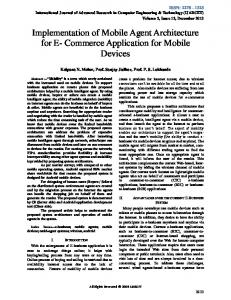 Implementation of Mobile Agent Architecture for E- Commerce Application for Mobile Devices