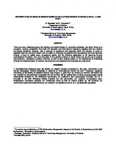 IMPLEMENTATION OF MODULAR MANUFACTURING IN THE CLOTHING INDUSTRY IN KWAZULU-NATAL: A CASE STUDY