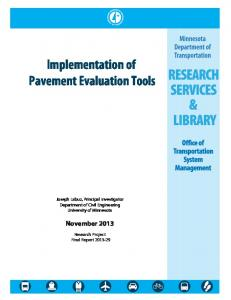 Implementation of Pavement Evaluation Tools