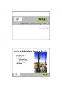 Implementation of pile design in the UK