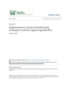 Implementation of project based learning technique to enhance engineering education