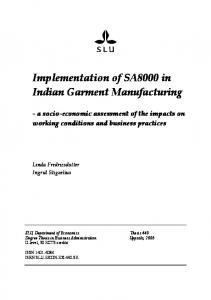 Implementation of SA8000 in Indian Garment Manufacturing
