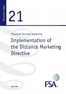 Implementation of the Distance Marketing Directive