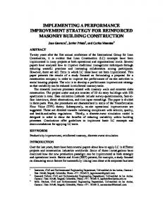 IMPLEMENTING A PERFORMANCE IMPROVEMENT STRATEGY FOR REINFORCED MASONRY BUILDING CONSTRUCTION
