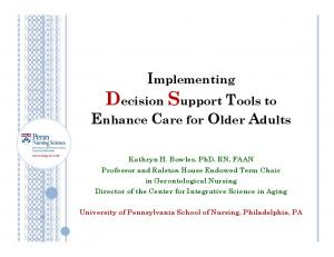 Implementing Decision Support Tools to Enhance Care for Older Adults