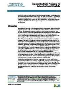 Implementing Digital Processing for Automotive Radar Using SoCs