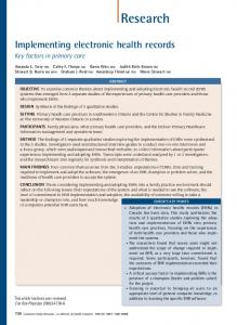 Implementing electronic health records ABSTRACT