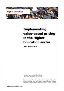 Implementing value-based pricing in the Higher Education sector