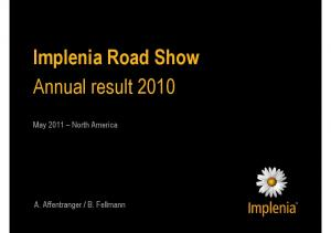 Implenia Road Show Annual result 2010