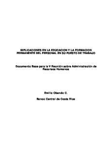 IMPLICACIONES EN LA EDUCACION Y LA FORMACION PERMANENTE DEL PERSONAL EN SU PUESTO DE TRABAJO