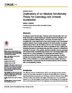 Implications of an Absolute Simultaneity Theory for Cosmology and Universe Acceleration