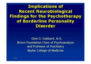 Implications of Recent Neurobiological Findings for the Psychotherapy of Borderline Personality Disorder