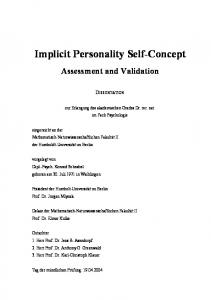 Implicit Personality Self-Concept