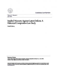 Implied Warranty Against Latent Defects: A Historical Comparative Law Study