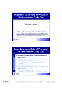 Importance and Role of Protein in the Indonesian Daily Diet