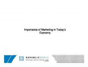 Importance of Marketing in Today s Economy