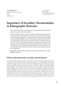 Importance of Secondary Documentation in Ethnographic Museums