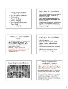 Importance of Segmentation. Image Segmentation. Importance of Segmentation (Cont.) Application of Segmentation