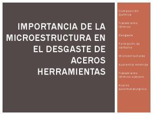 IMPORTANCIA DE LA MICROESTRUCTURA EN EL DESGASTE DE ACEROS HERRAMIENTAS