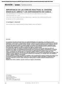 IMPORTANCIA DE LAS ESPECIES REACTIVAS AL OXIGENO (RADICALES LIBRES) Y LOS ANTIOXIDANTES EN CLINICA
