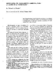 IMPORTANCIA DEL SANEAMIENTO AMBIENTAL PARA LA SALUD DE LA COMUNIDAD