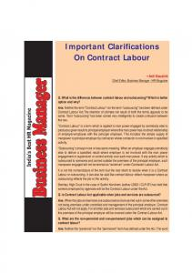 Important Clarifications On Contract Labour