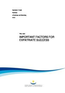 IMPORTANT FACTORS FOR EXPATRIATE SUCCESS
