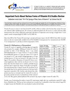 Important Facts About Various Forms of Vitamin K & Studies Review