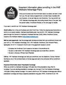 Important information about enrolling in the HNE Medicare Advantage Plans