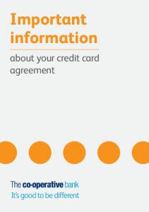 Important information. about your credit card agreement