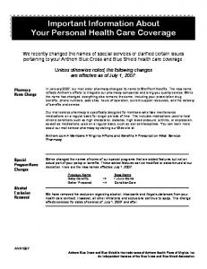 Important Information About Your Personal Health Care Coverage