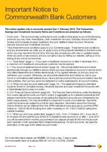 Important Notice to Commonwealth Bank Customers