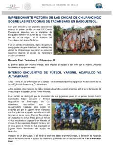 IMPRESIONANTE VICTORIA DE LAS CHICAS DE CHILPANCINGO SOBRE LAS RETADORAS DE TACAMBARO EN BASQUETBOL