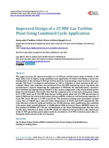 Improved Design of a 25 MW Gas Turbine Plant Using Combined Cycle Application