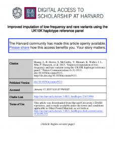 Improved imputation of low-frequency and rare variants using the UK10K haplotype reference panel
